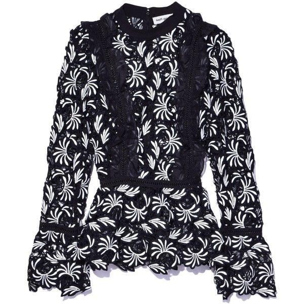 Paisley Frilled Top in Black ($375) ❤ liked on Polyvore featuring tops, frill top, long sleeve lace top, paisley top, long sleeve tops and frilly tops