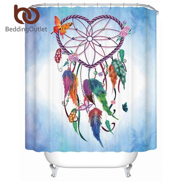 Dream Blue Butterfly Flowers Shower Curtain Set Waterproof Fabric Bathroom Mat