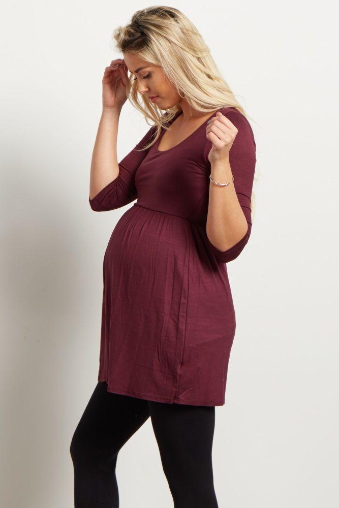 Burgundy 3/4 Sleeve Maternity Top