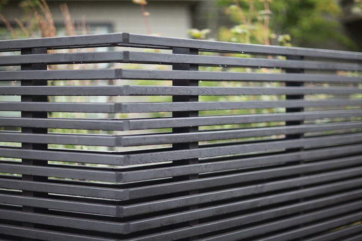 Hegn i sort i 1 m til 1,2 m i højden. Skal gå igen på hele grunden. For at skærme af og lave flere små haver. Hegnet ville kunne bygges lidt højere op af bagmuren ud mod P-pladsen. Her vil der kunne plantes tomater!