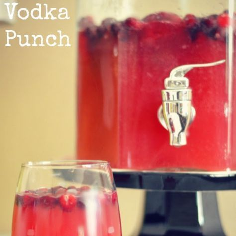 Cranberry Vodka Punch Recipe Beverages with cranberry juice, mango juice, limeade concentrate, vodka, ginger ale, cranberry juice, fresh cranberries #vodkadrinks