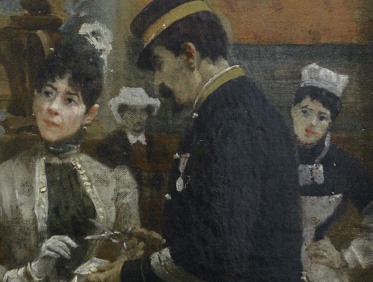 "BEROUD Louis,1889 - Le Dôme Central de la Galerie des Machines lors de l'Exposition de 1889 - Detail 03  -  TAGS/ art painter details détail détails detalles painting Carnavalet museum painters exhibition Paris France Champ-de-Mars urban urbain  people crowd foule visitors visiteurs ""Exposition Universelle""  verrière canopy Eiffel-Tower Tour-Eiffel elegance fashion mode contrôleur ticket-puncher poinçonneur ""jeune femme""  ""young woman"" serving uniforme uniform balcon balcony century…"