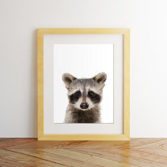 Raccoon print Raccoon wall art Nursery decor Nursery wall