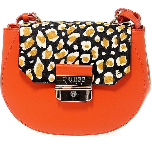 Guess Shoulder Bags ($195) ❤ liked on Polyvore featuring bags, handbags, shoulder bags, leather handbags, guess shoulder bag, shoulder bag purse, orange leather purse and guess handbags