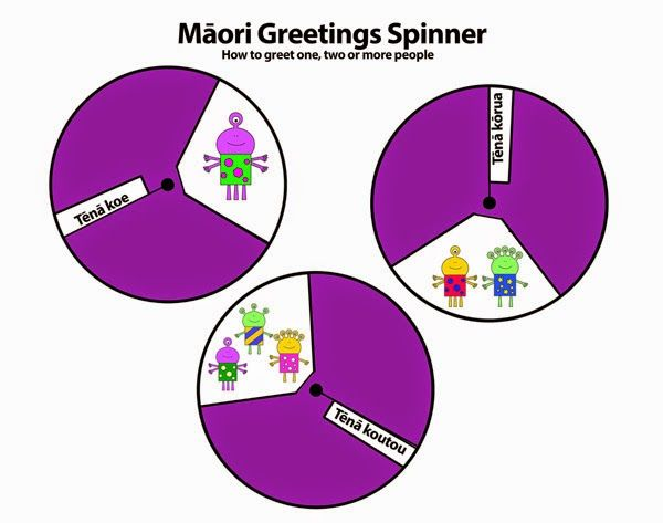 Māori Greetings spinner. Learn how to greet one, two or more people in te reo.