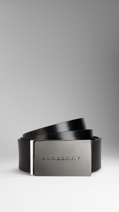 Burberry Leather Plaque Buckle Belt by Binda Fashion