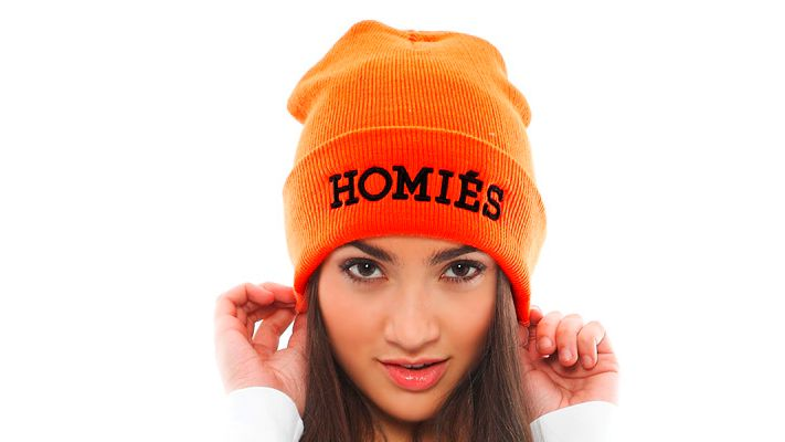 Orange Homies Beanie | Znaffle, #Znaffle, #BeckyG, #StealHerStyle, #WhatStarsWear, Spot this item in the original music video, http://znaffle.com/videos/becky-g-becky-from-the-block-536