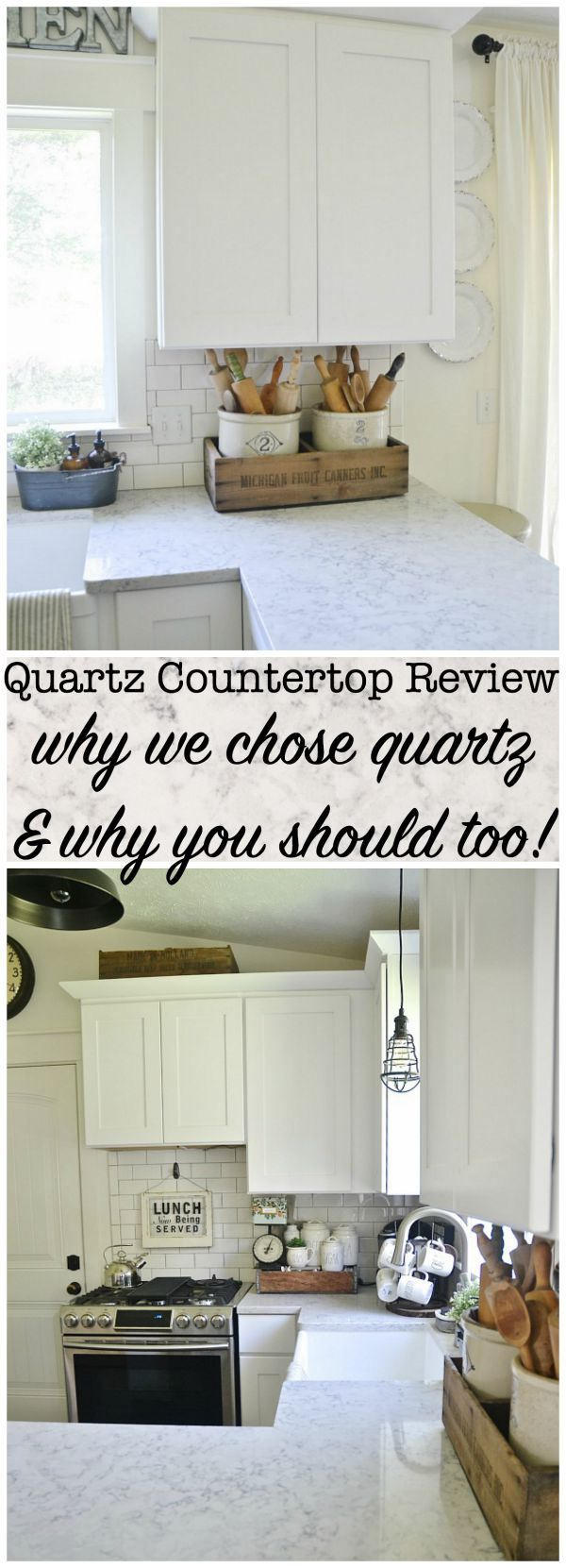 Quartz Countertop Review - Pros & Cons - Why we picked quartz & why you should too. A must pin for anyone who plans to ever remodel their kitchen!