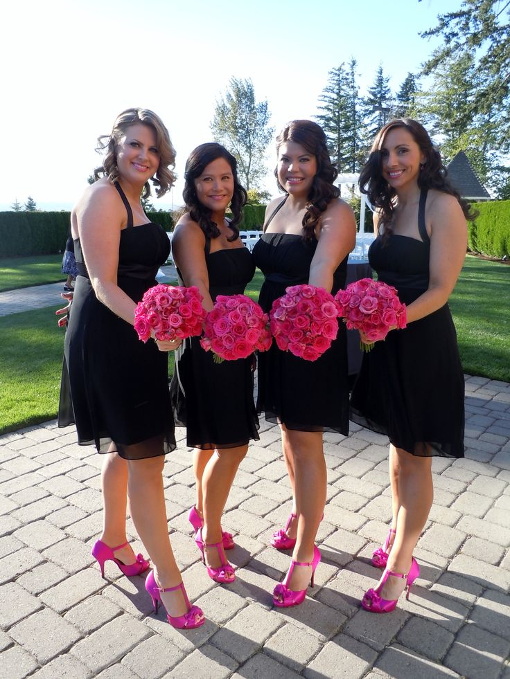 short black bridesmaids dresses with hot pink shoes - Google Search