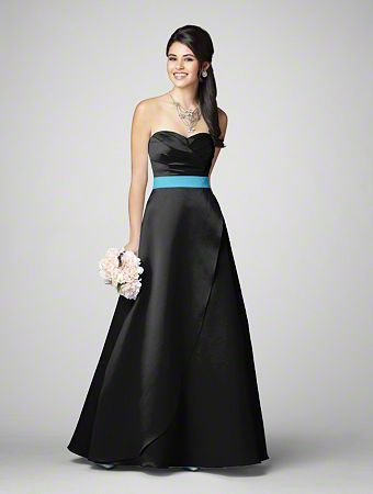 Alfred angelo bridesmaid dress style 7205 in black with for Alfred angelo black and white wedding dress