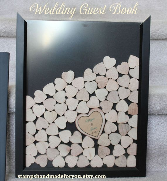 Wedding guest book   hearts Unique Heart Guestbook -   Wood frame Included 16x16 instruction card included