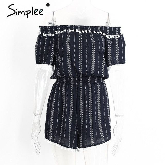Simplee Sexy off shoulder striped jumpsuits romper Summer beach fringe chiffon overalls women Streetwear party playsuit leotard