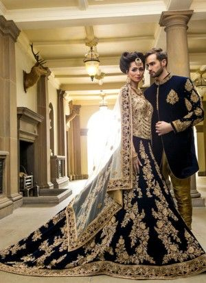 Indian Bride Groom Lehenga choli and Sherwani Dress
