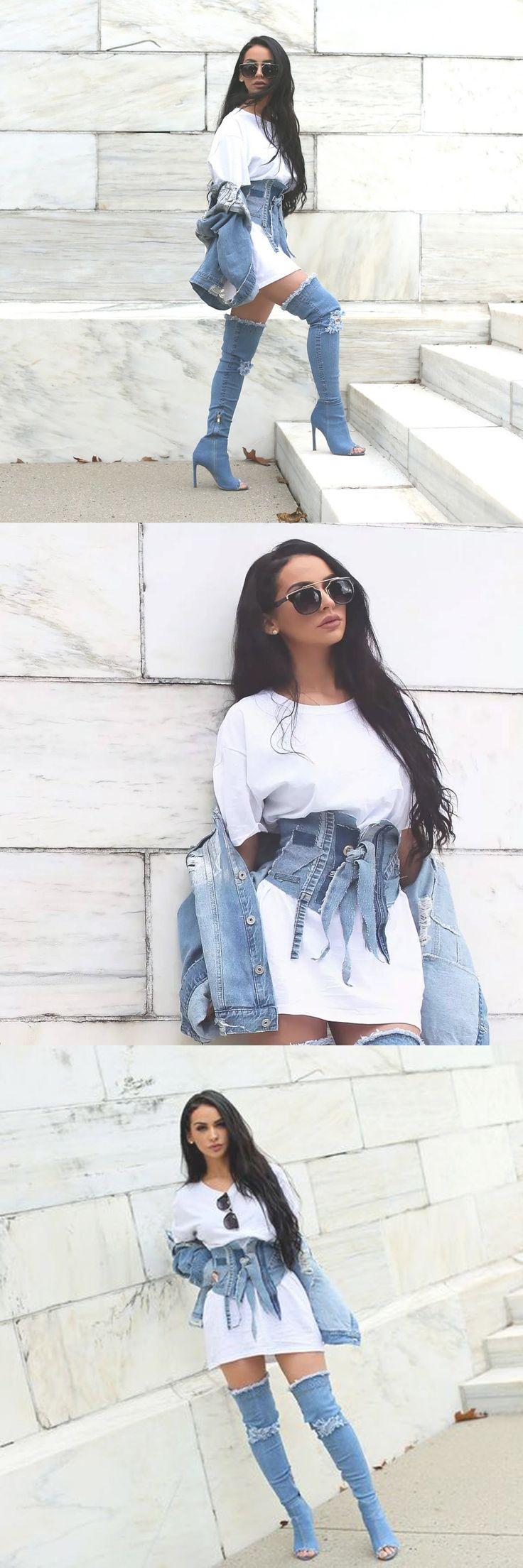 Carlibel Cute Outfit Ideas Summer 2017 Denim Thigh High Boots Denim Corset White T Shirt