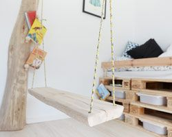 GULT HUS ekstraværelse, med gynge og palle-seng