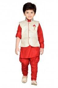 Cotton Party Wear Kurta Bridges Set In Red Colour