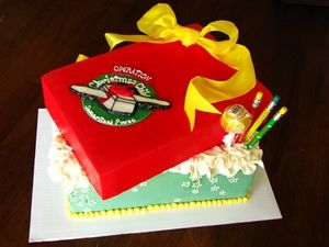 Operation Christmas Child Shoe Box Cake Designed by Flourish Confections.