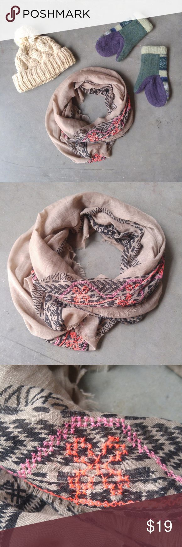 Brown Black Hot Pink Embroidered Infinity Scarf Infinity scarf from Target in excellent condition! The wide-ness of this scarf gives it a full look when wrapped around. Light brown background with black and hot pick embroidered on both long edges. Semi-sheer and lightweight. No trades. No modeling. Make a reasonable offer. Thanks! *Cover photo accessories not included* Target Accessories Scarves & Wraps