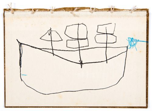 the boat that floated4 3/4″ x 6 5/8″charcoal, resin stick,...