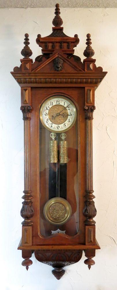 Antique Gustav Becker 2 weight, ornate dial German wall Clock Vienna Regulator