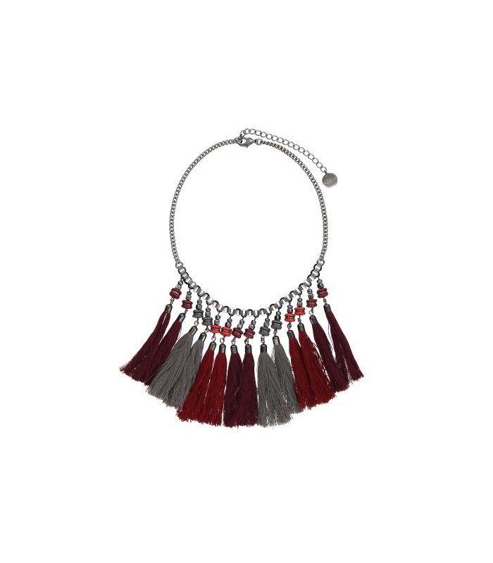 Rode combi korte halsketting met kwastjes|Mooie halsketting koop je bij A-zone | EAN: 8718189311481 | A-zone fashion