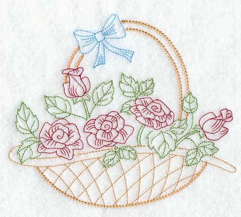 Vintage Embroidery Patterns | rose basket design is inspired by 1940s vintage embroidery patterns ...