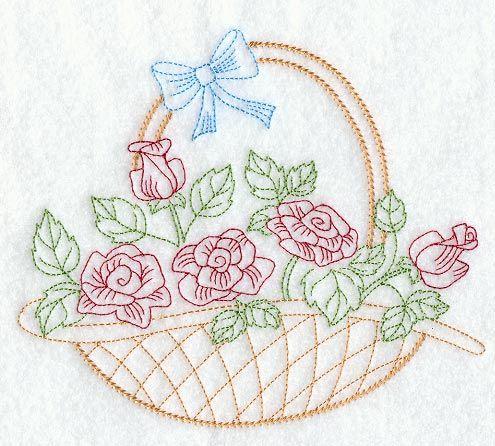 Vintage Embroidery Patterns   rose basket design is inspired by 1940s vintage embroidery patterns ...