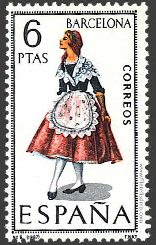 Trajes regionales españoles en sellos BARCELONA