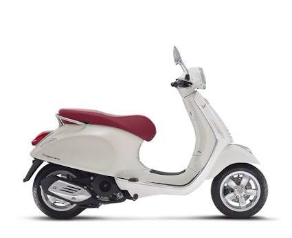 Vespa in white w/ red leather