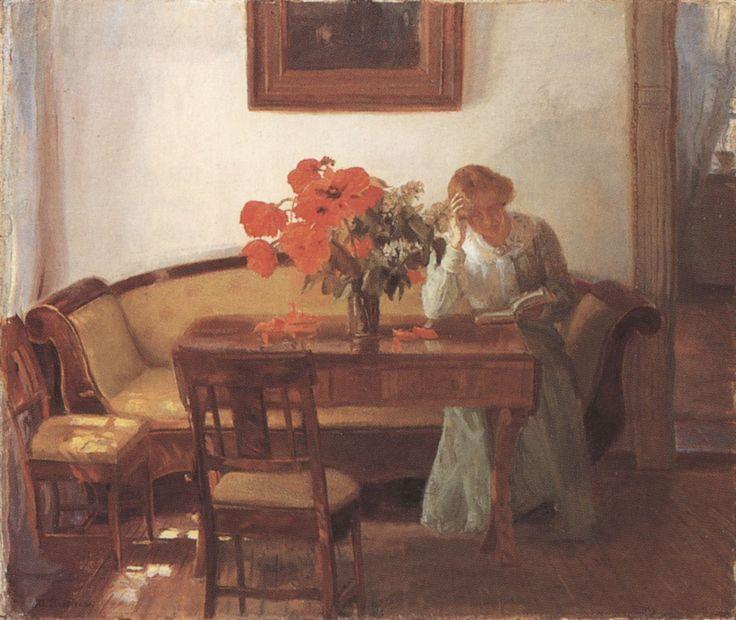 Anna Ancher - Interieur mit mohnblumen und lesende frau, 1905