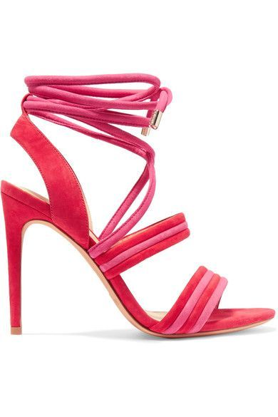 Heel measures approximately 100mm/ 4 inches Red and pink suede Ties at ankleSmall to size. See Size & Fit notes