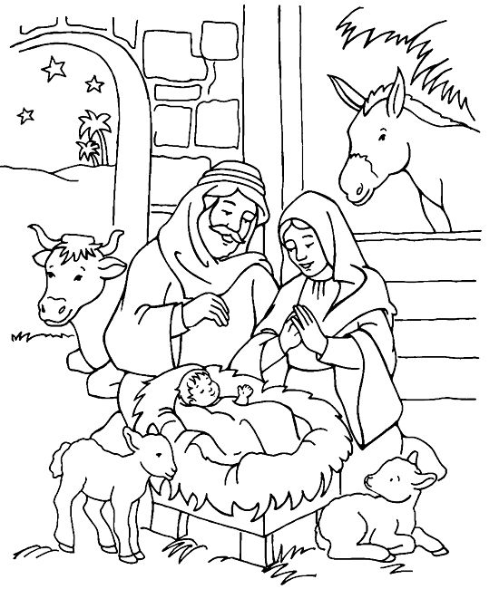 christmas coloring pages children nestled - photo#15