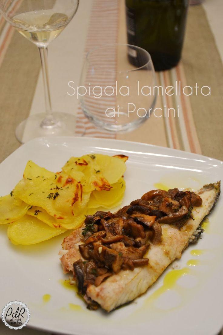 Pan di Ramerino: Spigola lamellata ai porcini con patate al timo