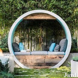 Jardin Génial – Google+ Необыкновенная идея беседки из  бетонных труб. И в дополнение  всесезонный сад,  который будет держать цвет,  форму и текстуру круглый год.  #JardinGenial #ландшафтный_дизайн  #Озеленение #Освещение #Полив #Постройки_на_участке