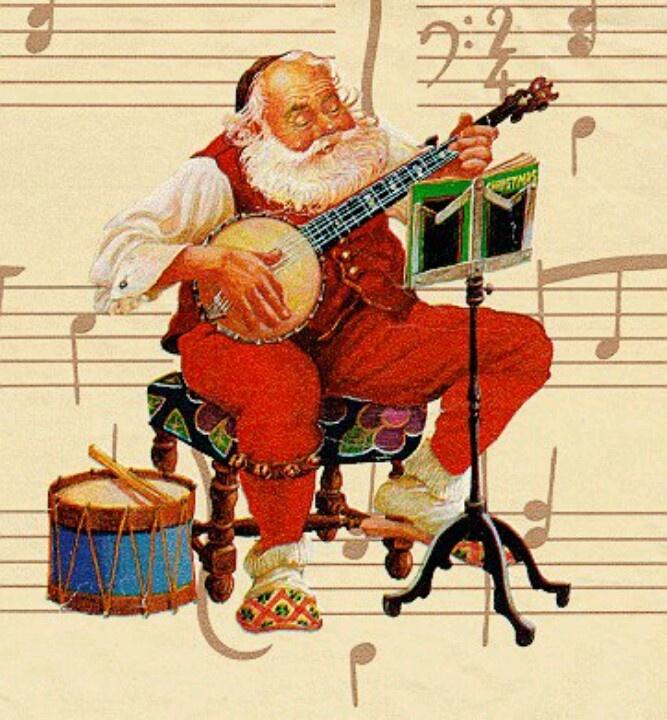 Image result for santa playing a banjo