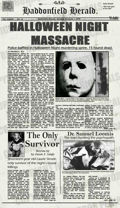 Haddonfield Herald, Michael Meyers' Massacre. #CreepItReal