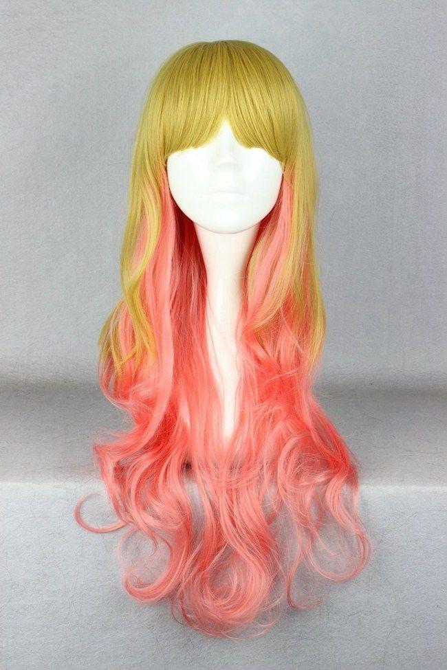 Горячая распродажа бесплатная доставка >>> горячая распродажа! Лолита стиль 70 см длинные цветной косплей костюм парик