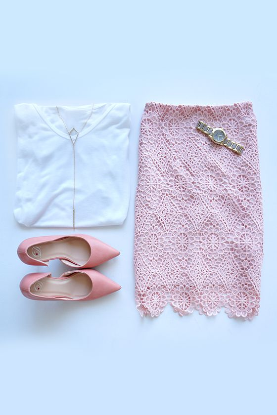 Pretty in Pink. Summer Outfit: Pink Lace Pencil Skirt, White Blouse, Pink Stilettos with Gold Jewellery