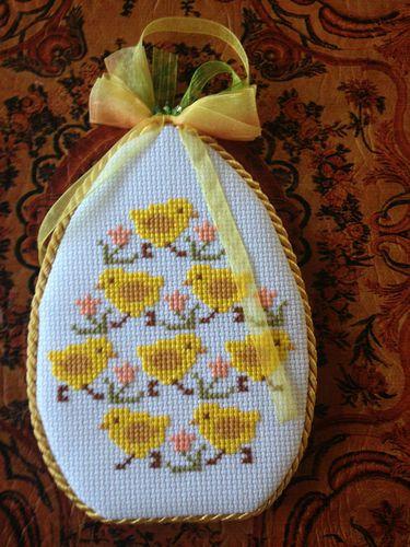 Completed Cross Stitch Prairie Schooler Easter Egg Chicks Ornament | eBay