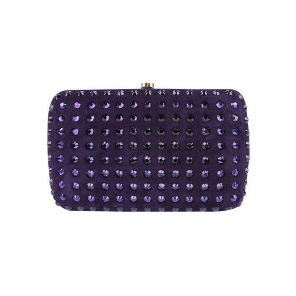 Gucci Broadway Suede Evening W/crystal 310005 5162 Purple 5162 Clutch (£630) ❤ liked on Polyvore featuring bags, handbags, clutches, special occasion handbags, purple handbags, suede purse, crystal clutches and purple clutches