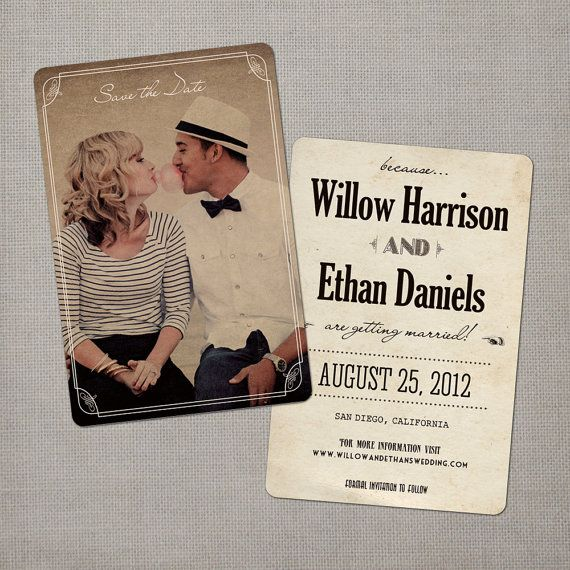 Vintage Save the Date Card  the Willow by NostalgicImprints, $38.00