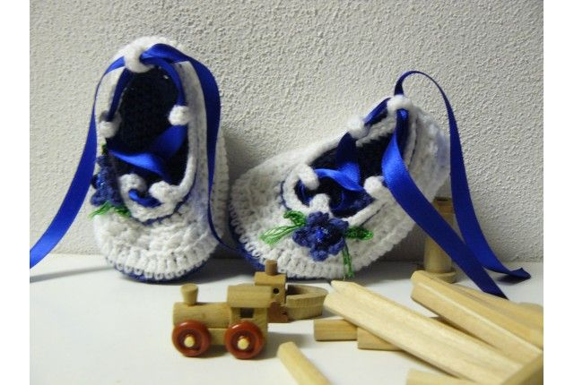 Scarpine uncinetto ballerina blu per bambina