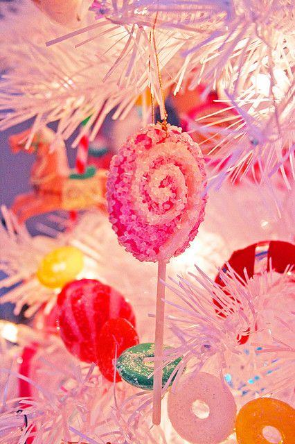 White Christmas tree candy ornament decor. Repinned from Vital Outburst clothing vitaloutburst.com