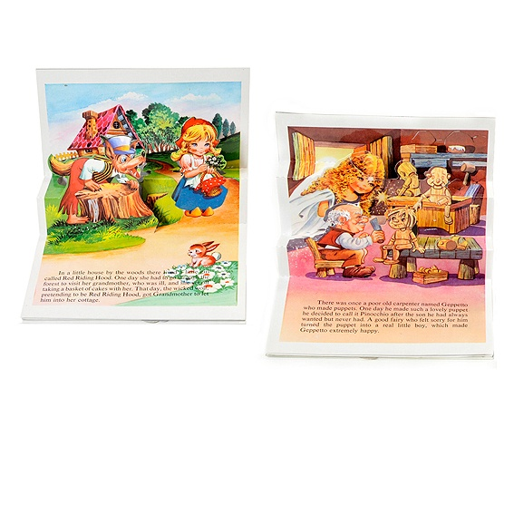 Cuento 3 a 6 años  Dos cuentecitos pop-up en inglés, Pinocho y Caperucita Roja.