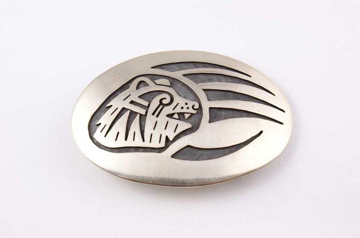 Hopi Bear Paw Design Sterling Silver Belt Buckle by Ben Mansfield