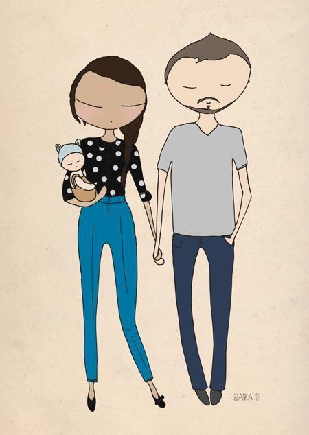 Blanka Biernat - Family illustration - ilustración Familia 5. LOVE this illustrative style