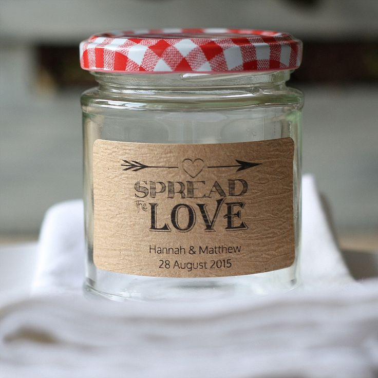 Spread the love wedding jam labels personalised sheet of 18