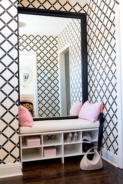 "Sacrifice a closet to create a dressing ""room"". Wallpaper and bench seating make the space glamorous and special. #homedecor #aroomofherown"
