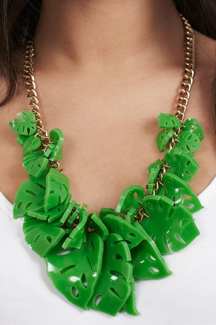Hot House Leaves Necklace - Green (£180.00)