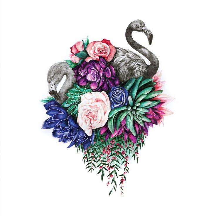 Flamingo flower art, bird illustration, wall art print, flower bouquet drawing